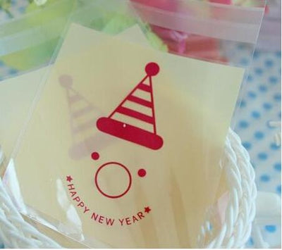 100pcs 10x13cm 10x10+3cm Clown Happy New Year Adhesive Bag Food Cookie Bag Plastic OPP Bag Jewelry Gift Poly Bag  UpCube- upcube