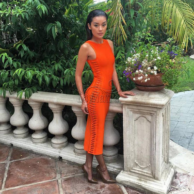 2017 Autumn new women sexy Celebrity party bandage dress Runway orange Dress O-Neck Side hollowed out Club dresses Vestidos