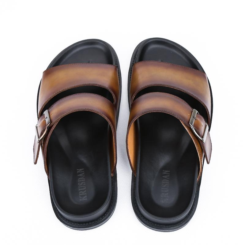 100% Genuine leather high quality Breathable antiskid sandals male Summer fashion brand beach slippers Men casual shoes sandals  UpCube- upcube