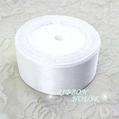 (25 yards/roll) 2'' 50mm White Single face satin ribbon webbing decoration gift Christmas ribbons - Dailytechstudios