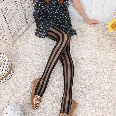 1 pcs Fashion Style Women Sexy Black Vertical Stripes Pattern Stockings Tights Pantyhose collant maille - Dailytechstudios