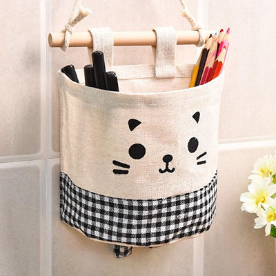 1 PCS Canvas Cute Cat Pattern Wall Hanging Bag For Organizer Cosmetic Waterprool Storage Sundries Bags For Decorate Home - Dailytechstudios