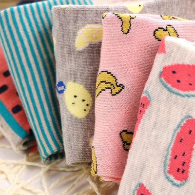 1 Pair Cute Casual Cotton Fruit Striped Short Ankle Sock Soft Boat Socks Accessories For Women Girl - Dailytechstudios