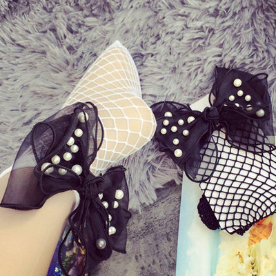 1Pair Fashion Women Girls Ruffle Lace Pearl Bowknot Fishnet Ankle High Ultra Thin Mesh Short Socks Summer  dailytechstudios- upcube