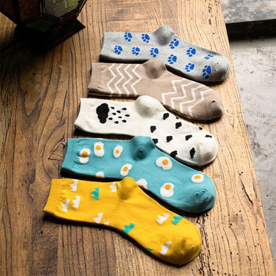 1 pair Fashion Winter Autumn Warm Lovely Footprint New Raindrop Striped Long Socks For Woman - Dailytechstudios