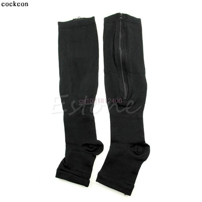 1Pair Socks Women's Slim Sleeping Beauty Leg Shaper Compression Burn Fat Zipper Socks