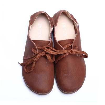 (35-42) Women Shoes 100% Authentic Leather Round toe Lace up Ladies Flat Shoes Slip-resistance rubber sole Female Shoe (5188-3 - Dailytechstudios