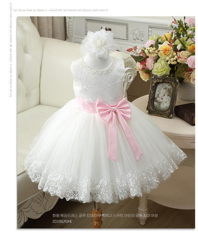 100% Real Photos White Lace Flower Girl Dresses For Weddings 2016 Summer Kids Prom Dresses Ball Gown For Birthday Party