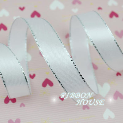 (25yards/roll) 20/25mm White Silver Edge Satin Ribbon Wholesale high quality gift packaging Christmas ribbons - Dailytechstudios