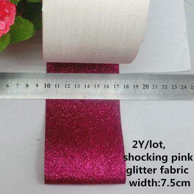 (2Yard/roll) 3''(75mm) Glitter Shiny Leather Fabric Ribbon DIY Hairbows Accessory Gift Package - Dailytechstudios