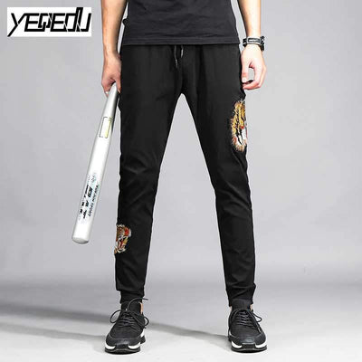 #1657 Stretch Space cotton Black Embroidery sweatpants Elastic waist Hip hop pants Mens joggers Pantalon homme Track pants 4XL - Dailytechstudios