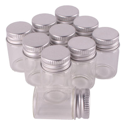 100pcs 6ml Size 22*35mm Transparent Glass Perfume Spice Bottles Tiny Jars Vials With Silver Screw Cap DIY Craft  UpCube- upcube