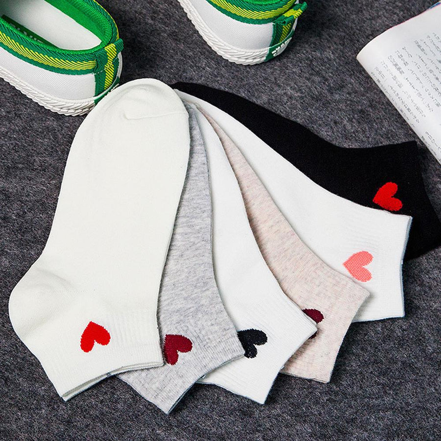 1 Pair 5 Colorful Ladies Girls Heart Fashion Socks Womens Harajuku Casual Short Sock Heart Style Ankle High Low Cut Cotton Socks - Dailytechstudios