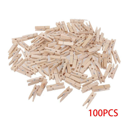 100pcs 3.0*0.4cm Mini Natural Wooden Clothe Clip Photo Paper Peg Clothespin Wood Craft Clips  UpCube- upcube