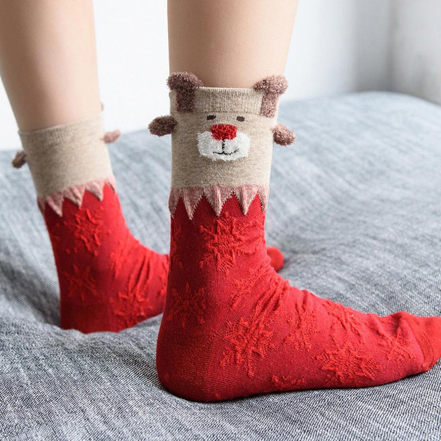 1 Pair 2016 New Women Winter Warm Christmas Warm Soft Cotton Cute Deer Bear Socks Xmas Christmas socks