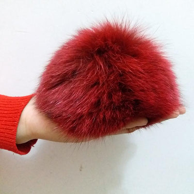 100% Real Fox Pompon Cap Fox Big Ball for Hats skullie Fox big Pumpon Fox Fur fluffy Pompom with Button  dailytechstudios- upcube