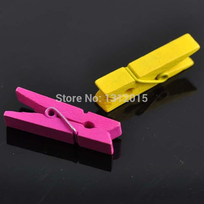 100PCs Wooden Clothespin Craft Clips Mixed Colors 26x7.5mm For DIY Jewelry fingdings PDB013  UpCube- upcube