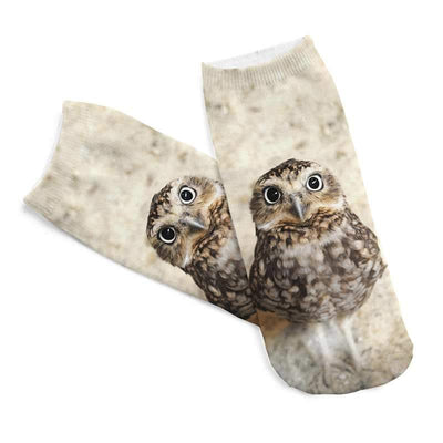 1pair Free Shipping 3D Printed Owl Animal Women's Socks Cotton Soft Casual Charactor Socks Unisex Low Cut Ankle Socks  dailytechstudios- upcube