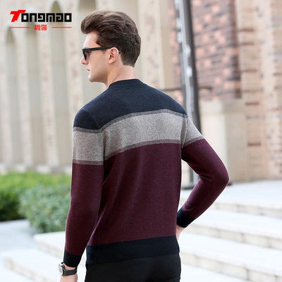 100% Wool Mens Sweater Autumn Winter Warm Zipper O-Neck Slim Fit Men Pullover Fashion Striped Solid Color Sweaters Men Knitwear  UpCube- upcube