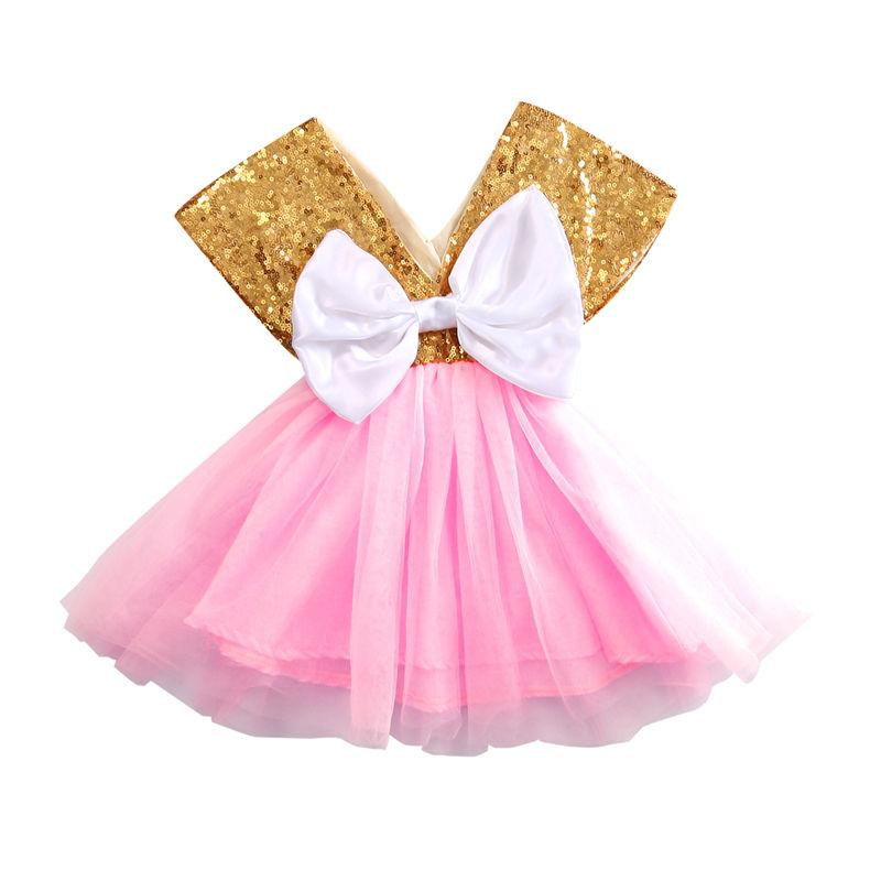 b960b6a2c Baby Girls Clothes Toddler Baby Tutu Dress Bow Cute Princess Sequins ...