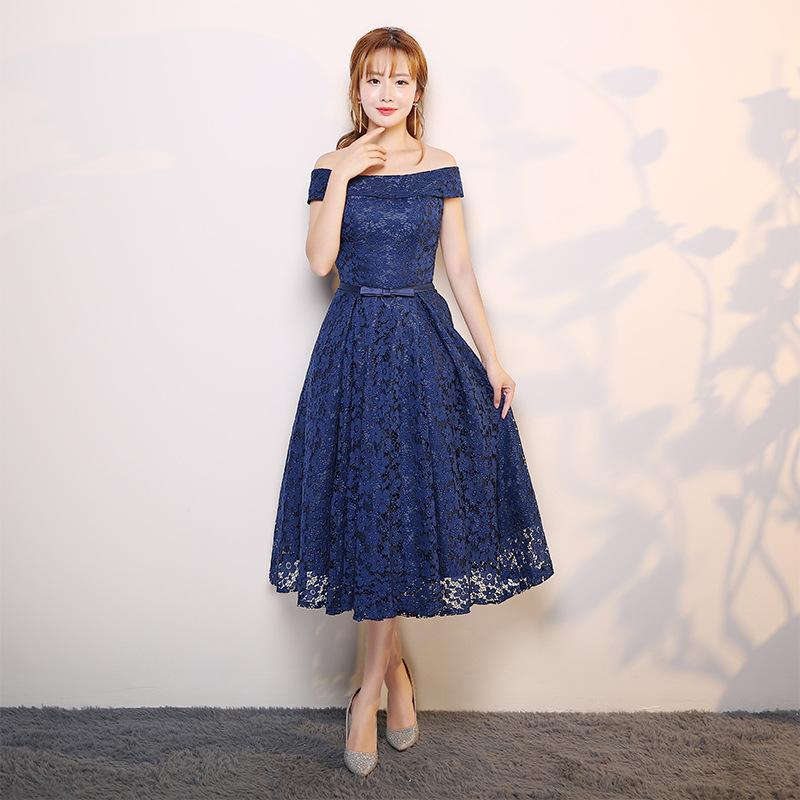 It's YiiYa 2017 New Deep Blue Sleeveless Boat Neck Prom Gowns Tea-length Party Simple Elegant Vintage Formal Dresses X053
