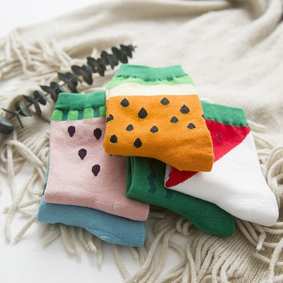 1pair New Women Cute Fruit Socks Autumn Winter Warm Watermelon Socks  dailytechstudios- upcube