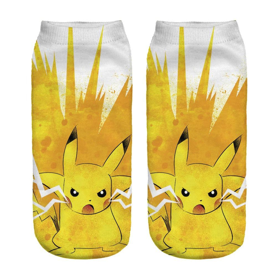 % New Arrival Kawaii Harajuku Pokemon Pikachu Socks 3D Printed Cartoon Women's Low Cut Ankle Socks Novelty Casual Socks Meias D - Dailytechstudios