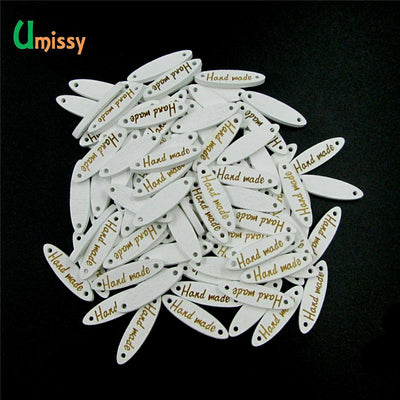 "100pcs Wooden Buttons ""Handmade"" Letter Sewing Buttons 2 Holes Scrapbooking Crafts DIY Oval Bouton 27mm  UpCube- upcube"