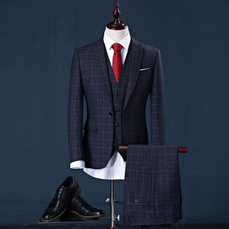 (Blazer+Pants+Vest) Tweed Plaid Suit Mens Classic Vintage Gentleman Formal Wear Skinny Wedding Mens Navy Suit With Pants M-3XL
