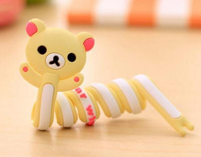 100PCS Cute Silicone Cartoon Universal Long Earphone Headset USB Silicone Rubber Cable Bobbin Winder For Iphone Ipad Samsung  UpCube- upcube