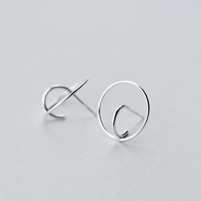 100% Real. 925 Sterling Silver jewelry Double Circle stud Earrings 20mm Wholesale GTLE1411