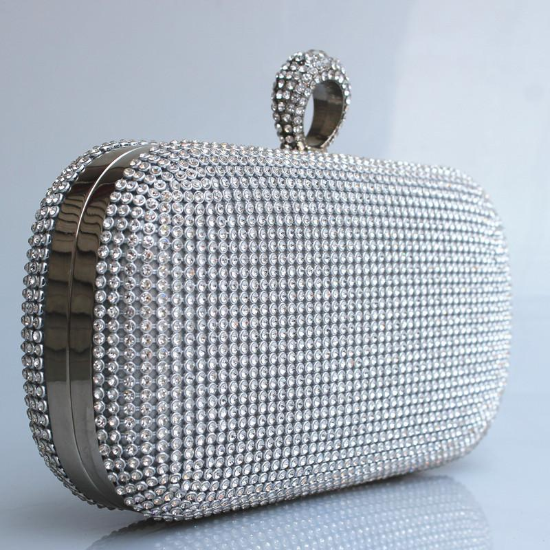(Put iphone6PS ) Both Side Diamond Ring Clutch Bags Smart Multifunction Women Full Rhinestone Evening Bag Clutch Purse/Bling Bag