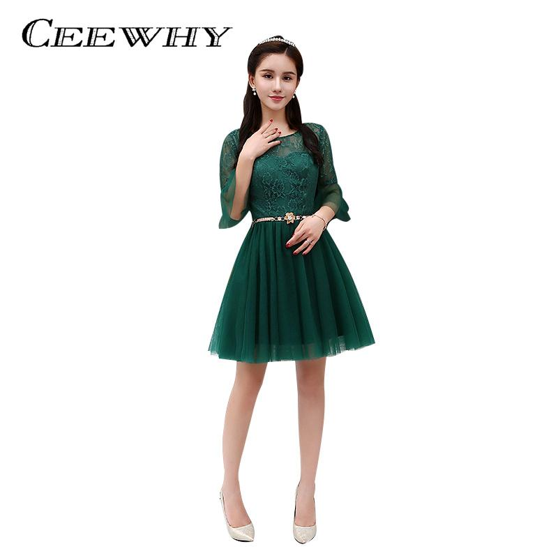 CEEWHY Ruffles Half Sleeve Short Lace Party Dress Green Cocktail Dress  Formal Dress Homecoming Graduation Dress 2cac8b513a7e