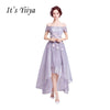 It's Yiiya 2017 New Light Purple Boat Neck Formal Dress Appliques Flower Pattern Charming Quality Cocktail Dresses QXN015