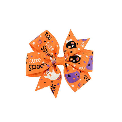 1 piece Boutique Halloween Hair Bow with Clips for Kids Hair Pumpkin Hair Bow Halloween Hair Accessories 638 - Dailytechstudios