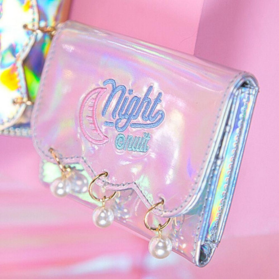 1PC Hot Hologram PU Moon Embroidery Pearl Wallet Clutch Coin Purse Laser Card Holder Bag Metallic Color Short Wallet  UpCube- upcube