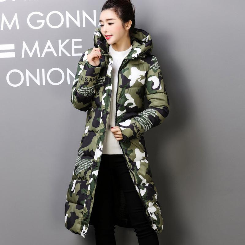 2017 Autumn Winter Coat Women Design Padded Down Cotton Coat Plus Size Slim Jacket Hooded Zipper Long Parkas Jacket Women C2381