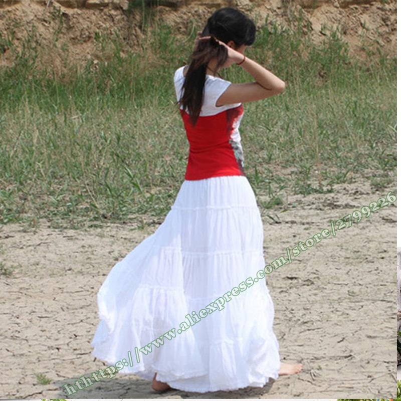100% Cotton Gypsy Bohemia Casual BOHO Full Circle Spani Pleated Female Long Skirt / White Red Black Maxi Plissee Skirts Womens