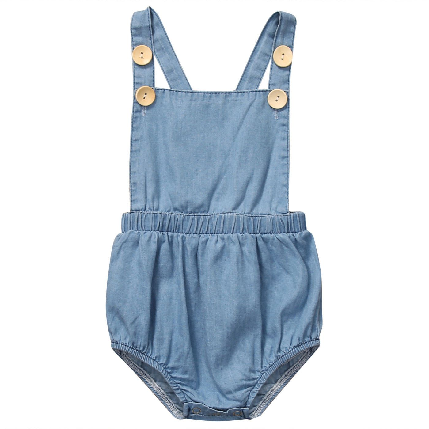 3aa0590ae Baby Girls Sleeveless Cute Denim Tops Jumpsuit Outfit Sunsuit ...