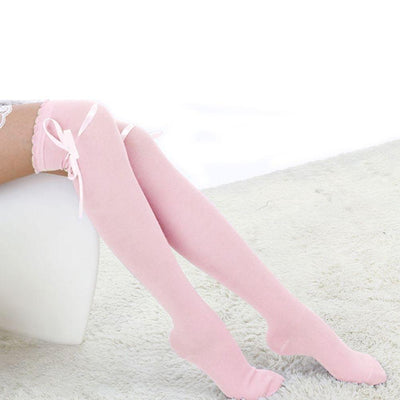1 Pair Fashion Winter Over Knee Socks Sexy Warm Thin High Long Knit Cotton Cute Stockings For Girls Ladies Women 5 Solid Color - Dailytechstudios