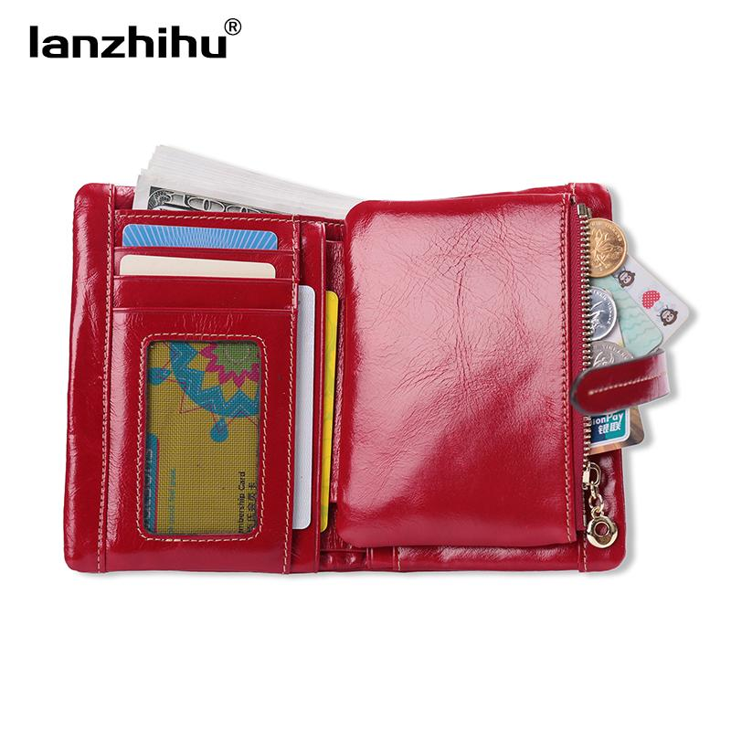 100% Women Genuine Leather Wallet Short Small Oil Wax Cowhide Purse Women's Vintage Lady Leather Clutch Coin Purses Card Holder  UpCube- upcube