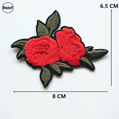 1 PCS Rose Embroidered Iron on Patches for Clothing DIY Stripes Clothes Patchwork Sticker Custom Flowers Applique @Z 1-11 - Dailytechstudios