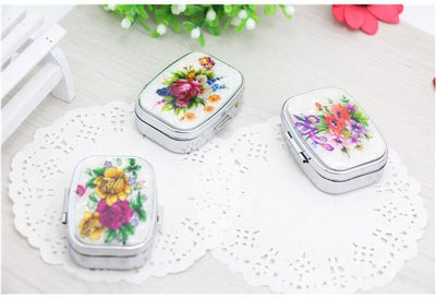 1Pcs New Folding Pill case Vitamin Drug Organize Box Flower Stainless Steel Portable Makeup Storage Case Container F0506  UpCube- upcube