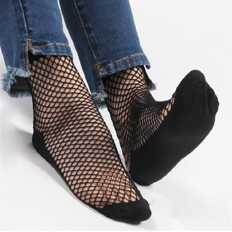 1 Pair Fashion Sexy Lace Ankle High Fishnet Mesh Net Solid Color Short Crew Socks For Women Lady - Dailytechstudios