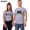 BLWHSA Lovers Couple T shirt Women Men Newest Valentines Gift Printing Mrs Mrs Couple Summer Matching Clothes For Lovers