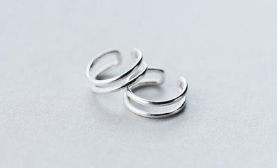 (13MM*4MM) Small Real. 925 Sterling Silver Jewelry Double Layers /Two Rows Clip Earrings (No pierced) GTLE1550 - Dailytechstudios