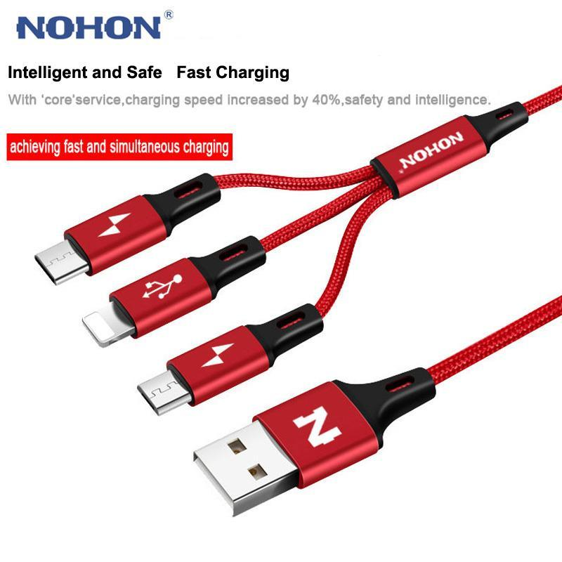2017 NOHON Micro USB Cable Type-C 8pin 3 2 in 1 For iPhone 7 6 6S Plus iOS 10 9 8 Android Xiaomi LG Cable Fast Charger Cables  upcubeshop- upcube