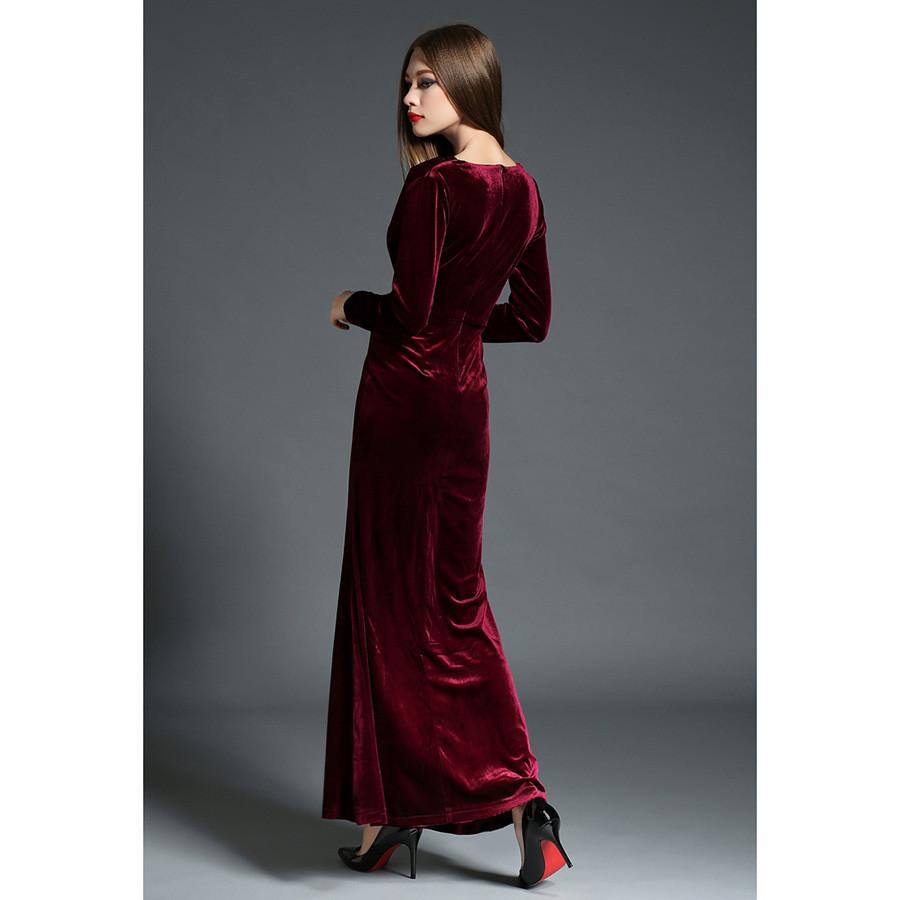 2017 Autumn Winter Evening Party Dresses Red Velvet Dress Women Sexy High Split Long Maxi Dresses Christmas Runway Vestido Longo