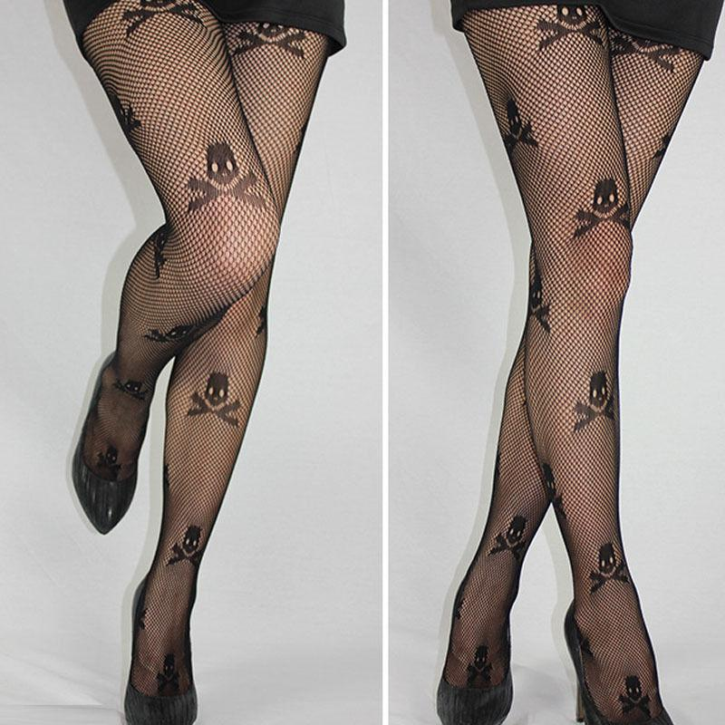 1 pc Sexy Stay Up Thigh high Tights Fishnet Mesh Skull Print Punk Stretch Pantyhose For Woman - Dailytechstudios