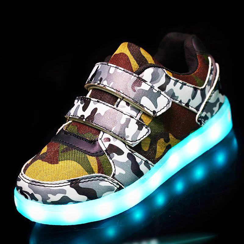 USB Basket Led child Shoes With Light Up Kids Luminous Sneakers Children's Glowing Shoe enfant for Boys